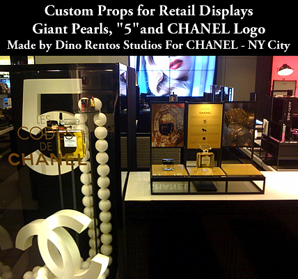Custom 3D Foam Sculptured Chanel Pearls and Logo Decor for Retail and Window Display