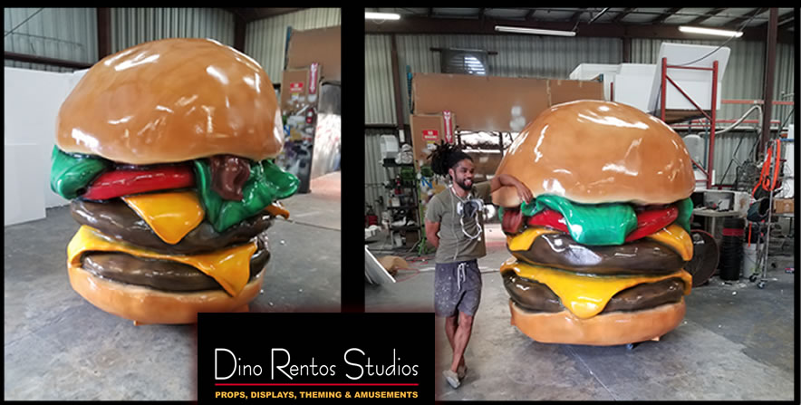 giant cheeseburger hamburger foam scenic sculpture prop and displays