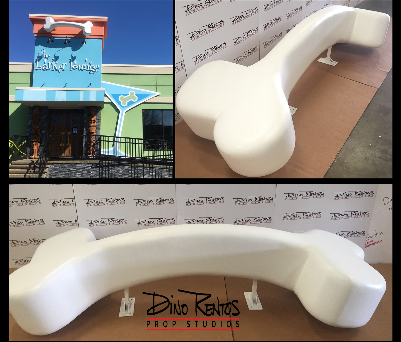 Large scenic foam dog bone for retail display at dog groomers