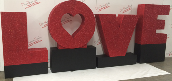 Custom 3D Foam LOVE Letters for events weddings and shows
