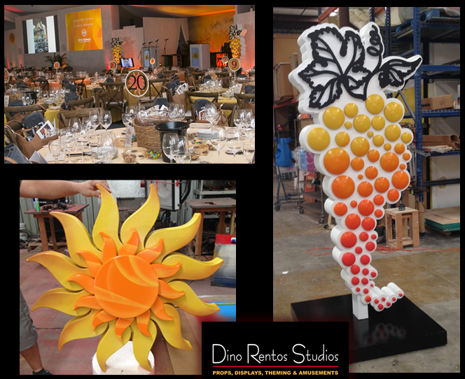 Custom Foam Props and Displays for events and tradeshows grapevine sun for naples winter wine festival