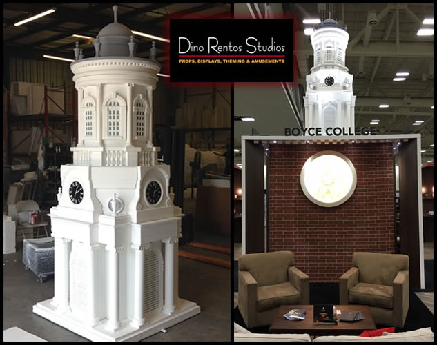 Custom Foam Props and Displays for events and tradeshows norton clock tower