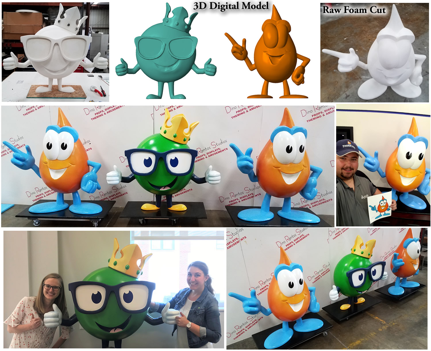 Large Foam Mascot Characters for Atlas Oil retail and lobby display