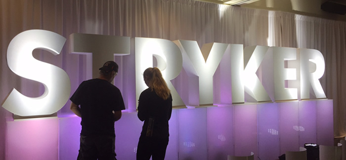 Custom 3D Foam Stryker Uplight Letters for event tradeshow and branding