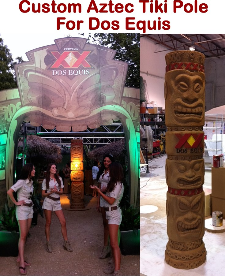 Custom Foam Props and Displays for events and tradeshows aztec tiki pole for dos equis