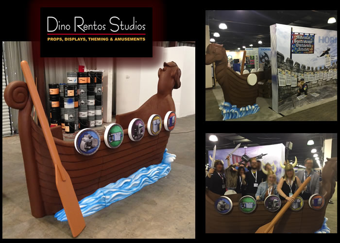 Large Custom Foam Viking Ship and Oar for Custom Tradeshow Display