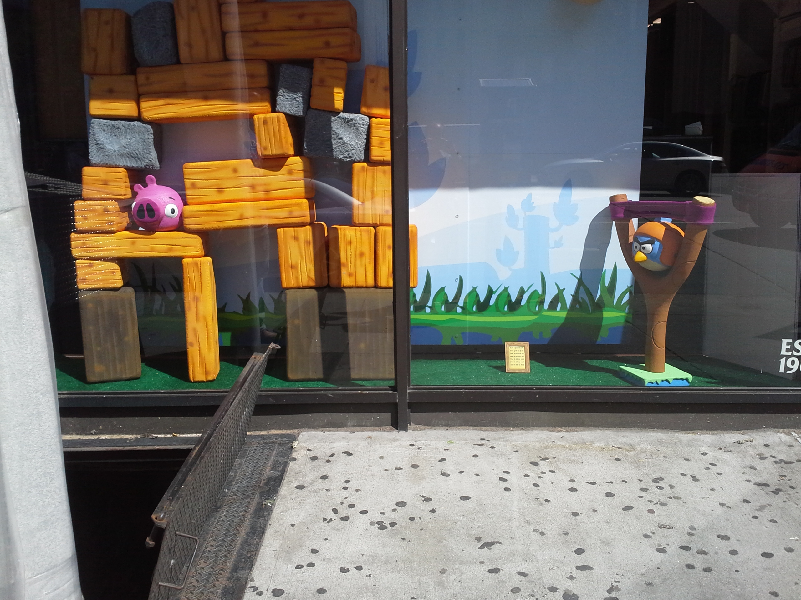 Custom Retail Point of Sale Window Foam Sculptured and Cardboard Display Angry Bird Theme