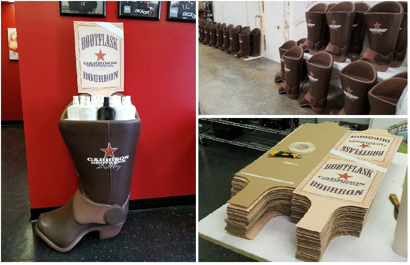 Custom Retail Point of Sale Purchase Foam Display Boots for Liquor
