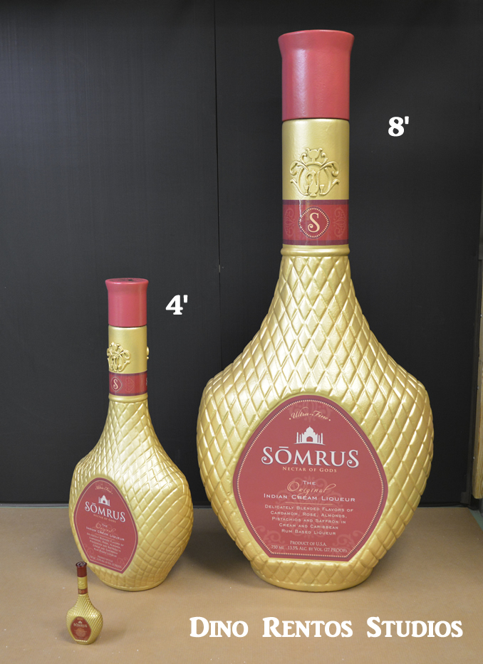 Custom 3D Foam Sculptured Liquor Bottle Decor for Retail Display and Tradeshows