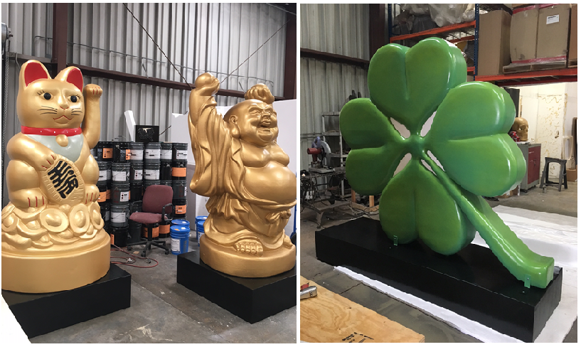 Custom 3D Foam Sculptured Buddah Lucky Cat Clover Decor for Retail Display and Tradeshow