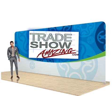 20 FT Straight Back Wall Display with Custom Fabric Graphic